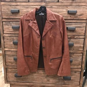 Jackets & Blazers - Evapel Women's Leather Jacket - Camel - S